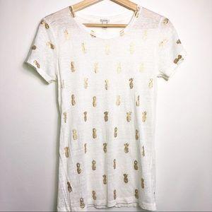 J. Crew Gold Pineapple Linen Pring T Shirt XS